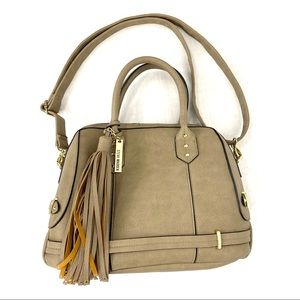 Steve Madden Taupe Faux Leather Satchel w/ Tassel
